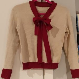 Red bowtie fitted sweater blouse
